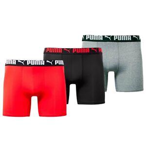 Puma Men's Athletic 3 Pack Tech Boxer Briefs