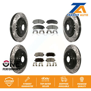 Front-Rear-Coated-Drilled-Slot-Disc-Brake-Rotors-Ceramic-Pad-2015-2019-Acura-TLX