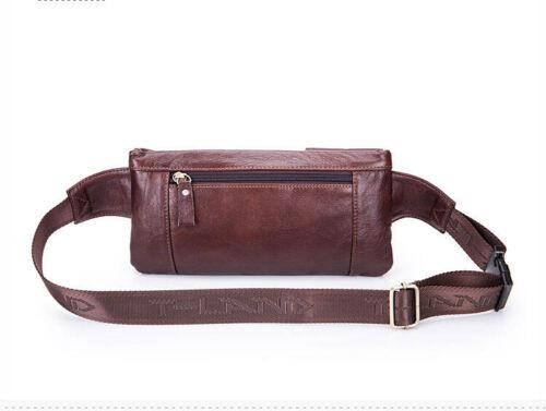 Mens Real Genuine Leather Brown Belt Bag Fanny Pack Waist Wallet Sling Chest Bag