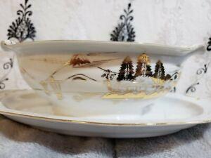 Hayasi-Kutani-China-Porcelain-Gold-Fuji-Gravy-Boat-Dish-W-Attached-Plate-Japan