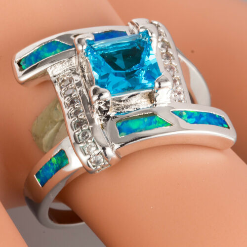 6x6 Princess Blue Topaz Blue Fire opal silver Bypass Wrap Ring US Taille 7 8 9 10