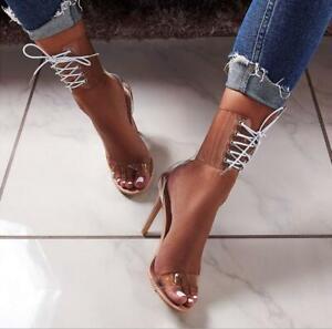 Women's PVC Jelly Lace-Up Sandals Open
