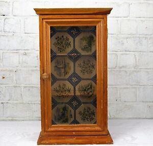 Vintage-Wooden-small-Medicine-Cabinet-Apothecary-wall-cabinet-Plastic-Door