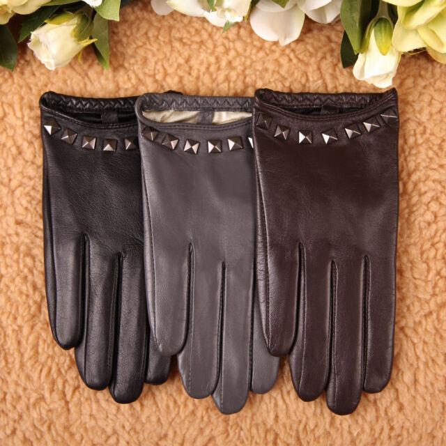 Women's PUNK ROCK GOTHIC GENUINE LEATHER stud gloves