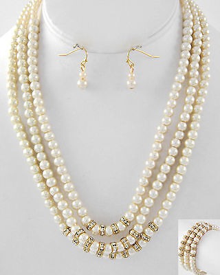 Bridal Jewelry 3pc Goldtone 3 Strand Bridal Faux Cream Pearl Necklace Bracelet & Earring Set Various Styles