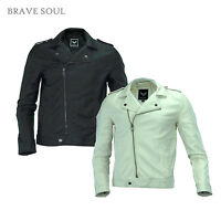 BRAVE SOUL MENS CONEY BLACK WHITE PU BIKER STYLE JACKET RRP £49 SAVE 55% OFF