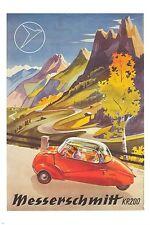 messerschmitt RETRO FUTURISTIC CAR vintage ad poster UNUSUAL COMPACT 24X36