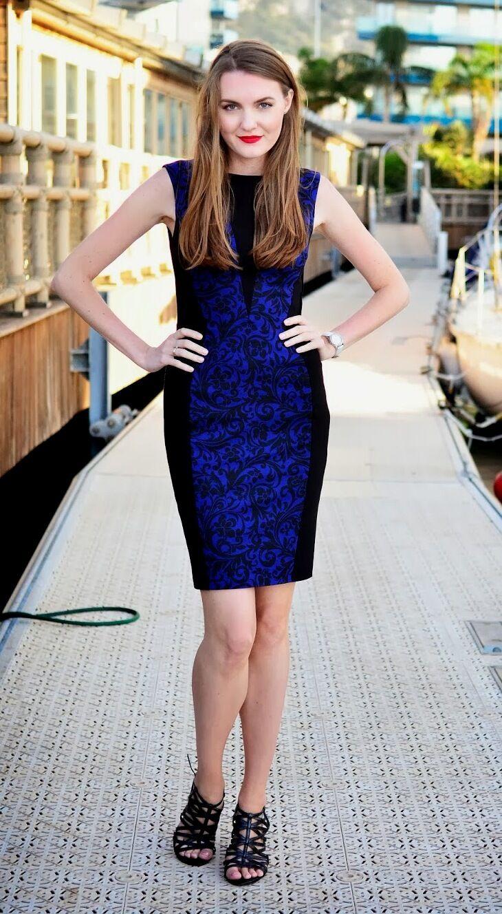 Nuevo Karen Millen Azul Negro Brocado Estampado Floral  Bodycon Vestido DR123 Reino Unido 12  bienvenido a comprar