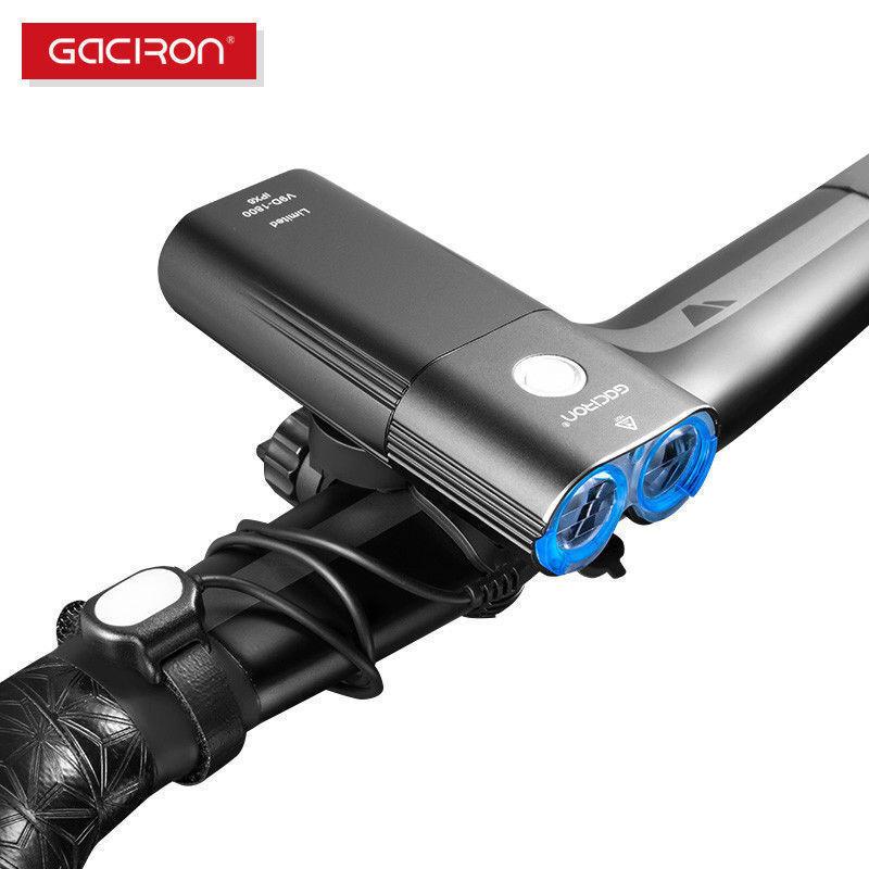 Gaciron Cyclisme Avant Guidon Vélo Lumière Rechargeable USB 1800 lm 6700 mAh