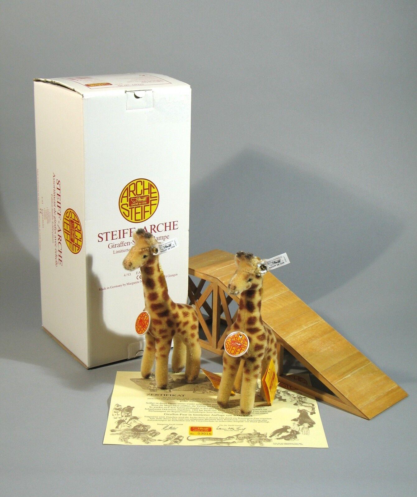 Steiff Arche Ark Giraffen Giraffe Set 038341 KFS Waschanleitung Zertifikat OVP