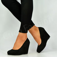 BRAND NEW WOMENS LADIES WEDGES HIGH HEEL PLATFORMS PUMPS BLACK SHOES SIZE UK 3-8