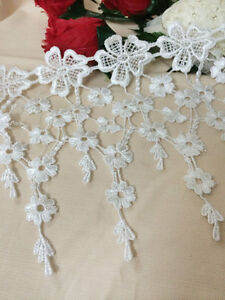 White Leaf Tassels Lace Rayon Trim Embroidery Hollow Out Lace