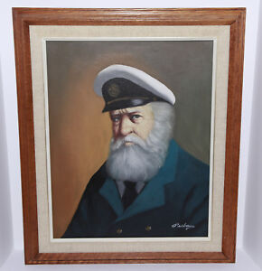1950-Original-Painting-by-Listed-Rhode-Island-Artist-David-Pelbam-Sea-Captain