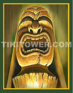 WAHINE MOON AND FIRE Tiki Bar Lowbrow Art Print Polynesian KU Hawaii Man Cave