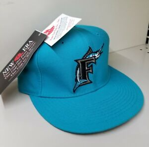 NEW VINTAGE Florida Marlins New Era Fitted Hat Size 7 Miami 100/% Wool Made USA