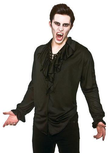 zanne da vampiro uomo Halloween Dracula Costume Adulti Nero Camicia