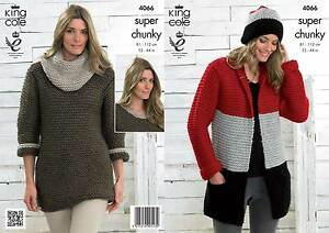 King Cole 4066 Knitting Pattern Jacket Hat Sweater Dress Cowl In