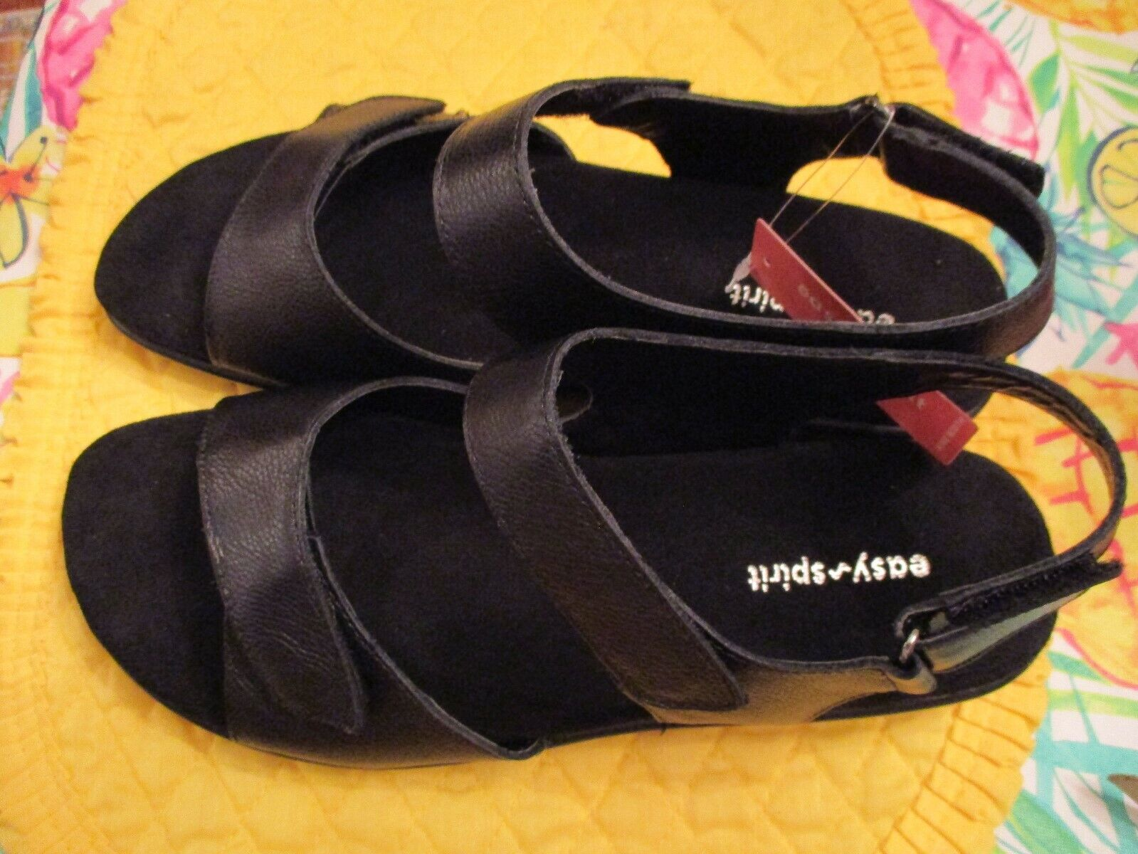 Women's Easy Spirit Hartwell Comfort Flat Black Sandals NWT in in in Box Size  9 Wide 42ec39
