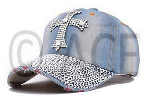 Image is loading Womens-Designer-Rhinestone-Cross-Peaked-Denim-Hats-Trucker- 2a71ebbb4