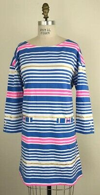 Lilly Pulitzer Lapis Blue Tiki Stripe Lena 3//4 sleeve Shift Dress Size M New