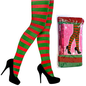 Adult Red   Green Striped Elf Tights Christmas Fancy Dress Womens ... 327f604747e