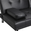 Modern-PU-Leather-Sofa-Bed-Futon-Durable-Black-With-Cup-Holders-amp-Pillows thumbnail 2
