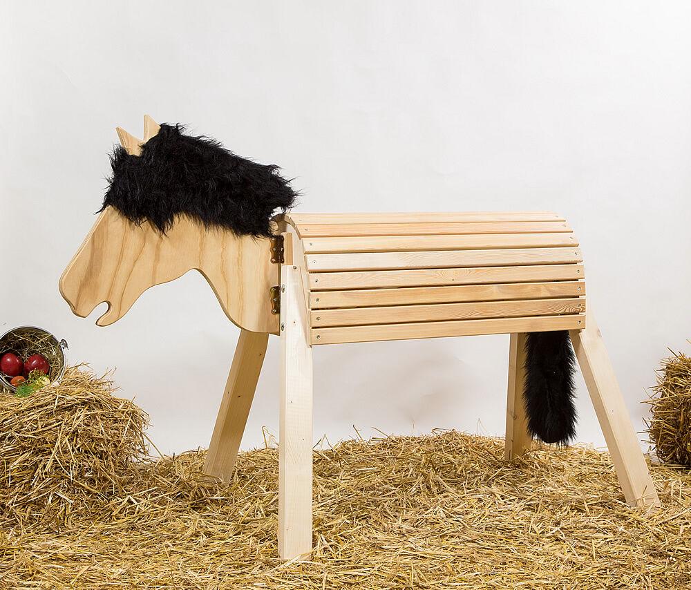 Holzpferd,Voltigierpferd, bewgl. Kopf, ca. 80cm, ohne Lasur, Mähne schwarz