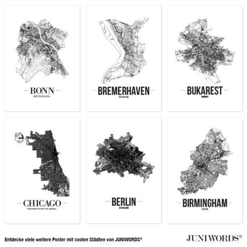 Kunstdruck Plan Map Weiß JUNIWORDS Stadtposter Dresden