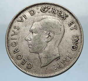 1944-CANADA-WWII-Time-SILVER-50-Cents-Coin-UK-King-GEORGE-VI-Coat-of-Arms-i66878