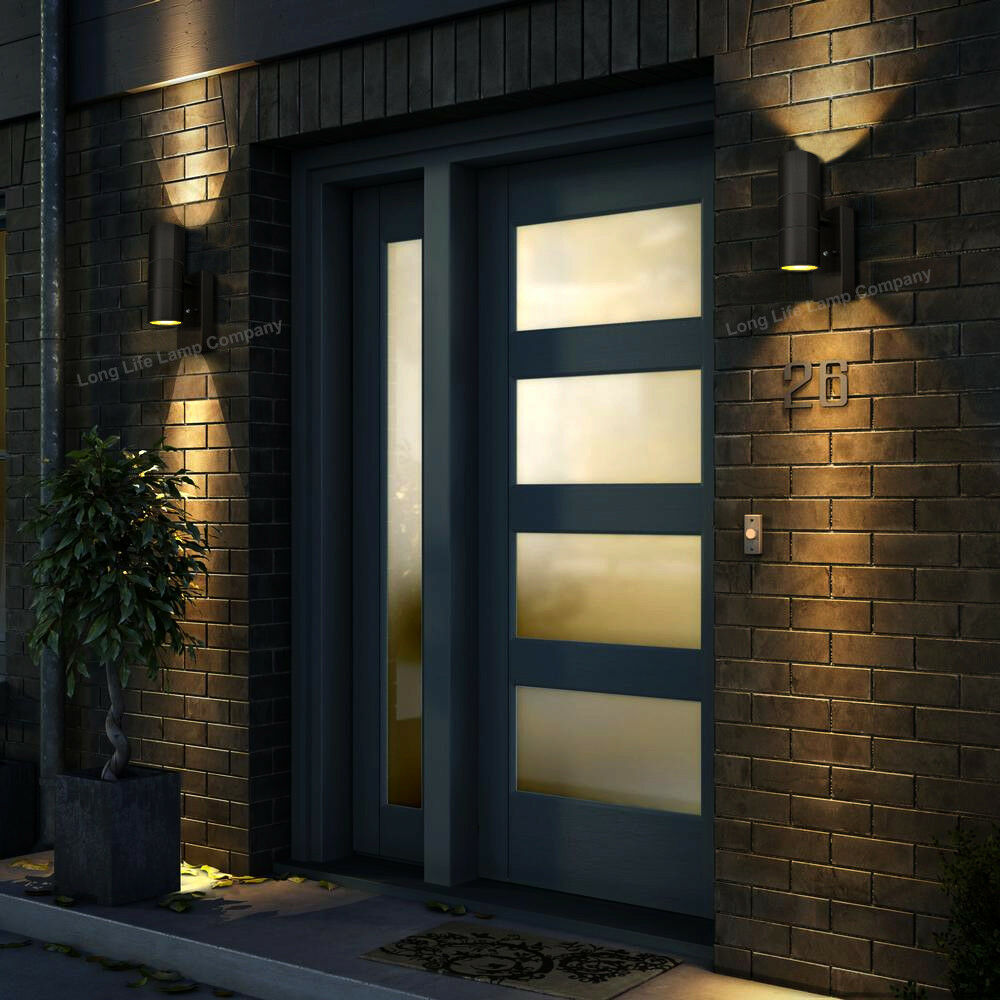 Dusk till dawn sensor black outdoor up down wall light for Luxury exterior lighting