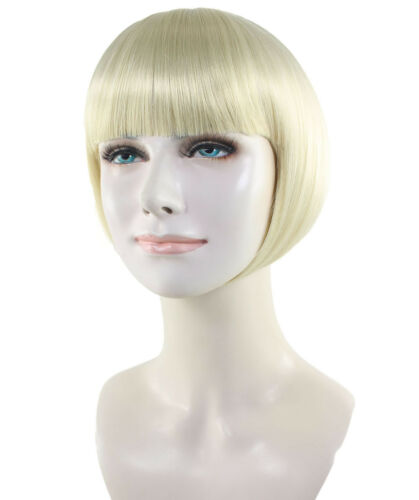 Blonde Bob Wig Short Straight Hair with Bangs Halloween Party Costume HW-2276