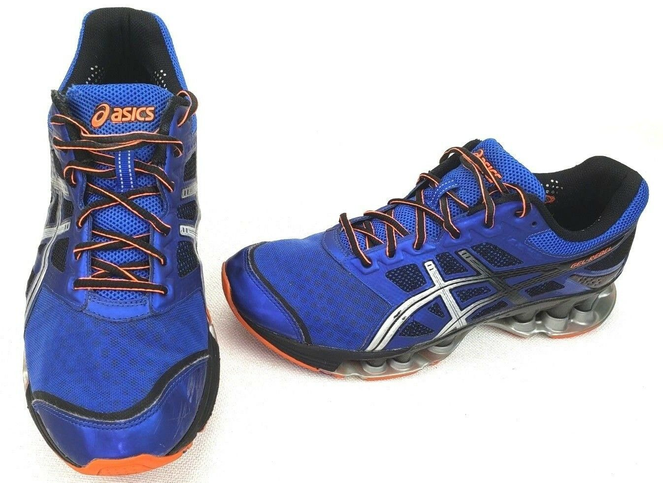 b7134954 Asics Mens 11 Size orange Silver bluee shoes Athletic Running Rebel ...