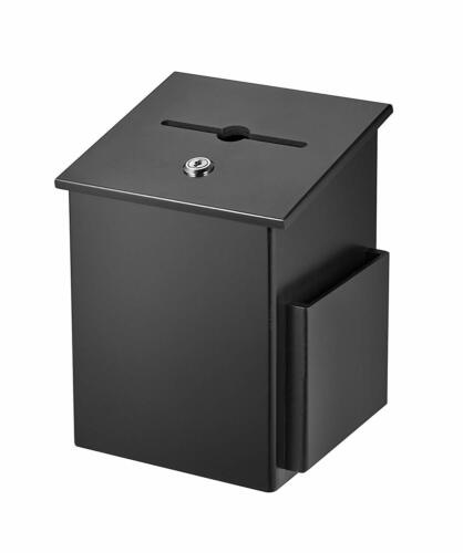 AdirOffice Wood Key Locking Mountable Comment Suggestion Box with Side Pocket