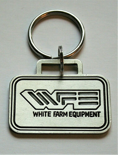 Vintage White Farm Equipment Tractor Key Chain 2002 NOS Logo Series