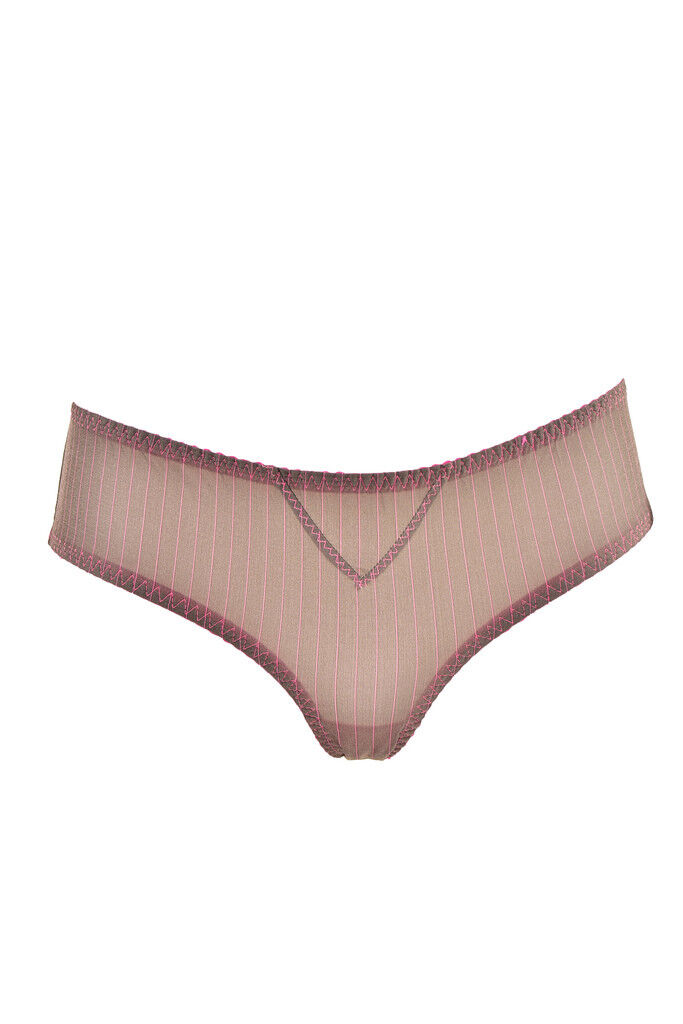 L'Agent by Agent Provocateur Women's Elastic Striped Brief Grey RRP  BCF89