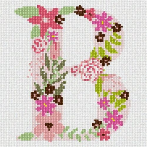 Floral//Alphabet//Letters The Letter B Flowering Needlepoint Kit or Canvas