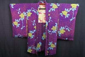 05v6368 Silk Vintage Long Japanese kimono Haori Jacket Flower