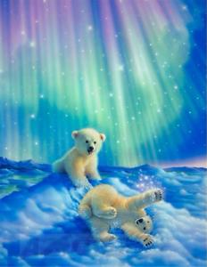 Polar Bear Aurora 5D Full Drill Diamond Painting Cross Stitch Kits Mural P493