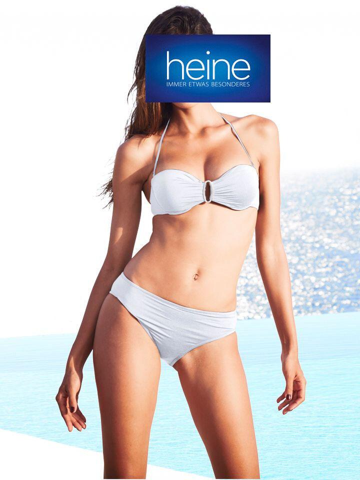 Soft Cup Bandeau Bikini, Heine. White. Detachable STRAPS. Cup C. NEW!!!
