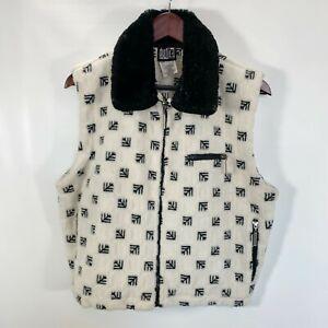 Duffel-Outdoor-Fleece-Vest-Full-Zip-Pockets-Black-White-Print-Size-M-Medium