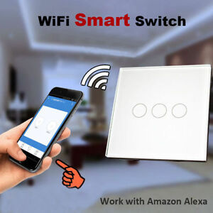 3 Gang 1 Way Wifi Smart Wall Light Switch Touch Panel Work with Amazon Alexa