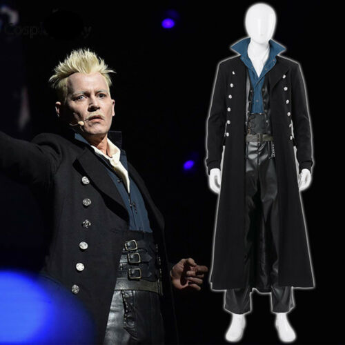 Fantastic Beasts 2 Gellert Grindelwald Cosplay Costume Wizard Black Outfits