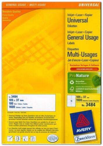 Universal-Etiketten 105 x 37 mm AVERY Zweckform 3484 Menge nach Auswahl