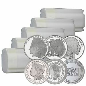Lot-of-100-1-oz-New-Silver-Rounds-In-Original-Mint-Tubes-Direct-From-Mint