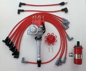 small block chevy red small hei distributor red 45k coil spark Chevy Ignition Coil Wiring Diagram image is loading small block chevy red small hei distributor red