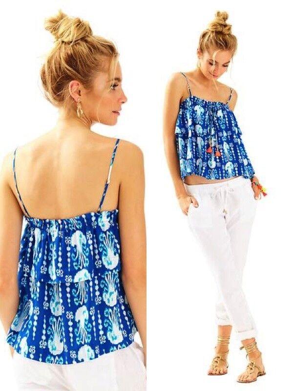 NWT Lilly Pulitzer Mays Top Indigo Get In Line w  neon tassels tie front XS,M,XL