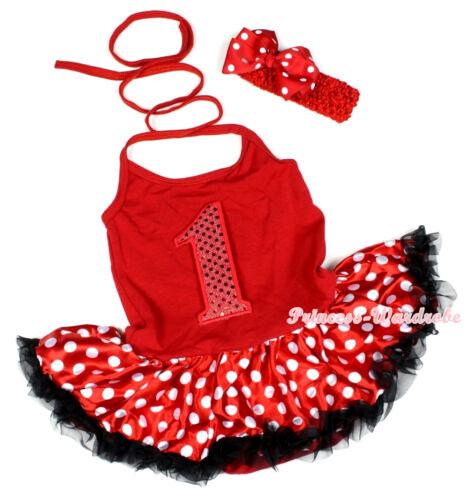 Baby Red Sparkle 1 ST Birthday Number Halterneck Jumpsuit Minnie Dress NB-2Year