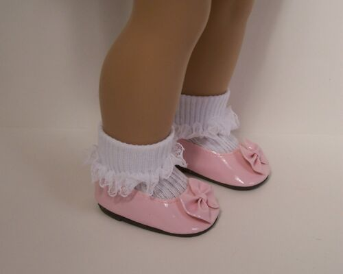 """Debs LT PINK Patent Slip On Flats w//Bow Doll Shoes For 18/"""" American Girl"""