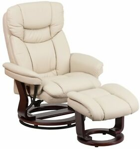 Image is loading Beige-Leather-Swiveling-Recliner-with-Ottoman-Arm-Chair-  sc 1 st  eBay & Beige Leather Swiveling Recliner with Ottoman Arm Chair Swivel ... islam-shia.org