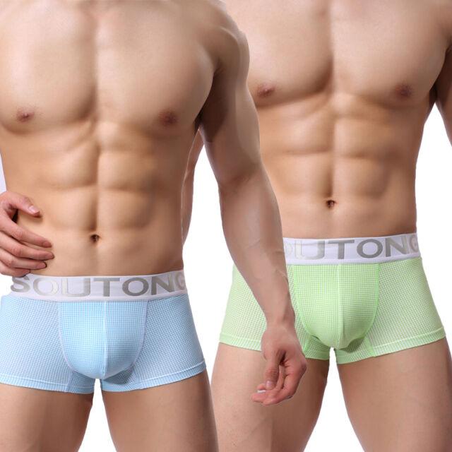 Men's Boxer 2Color Net Grids Underwear Underpants Elastic Waistband Bulge AUD